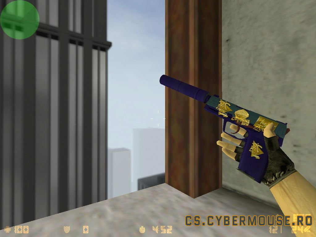 USP «Royal Blue» with stickers for CS 1.6